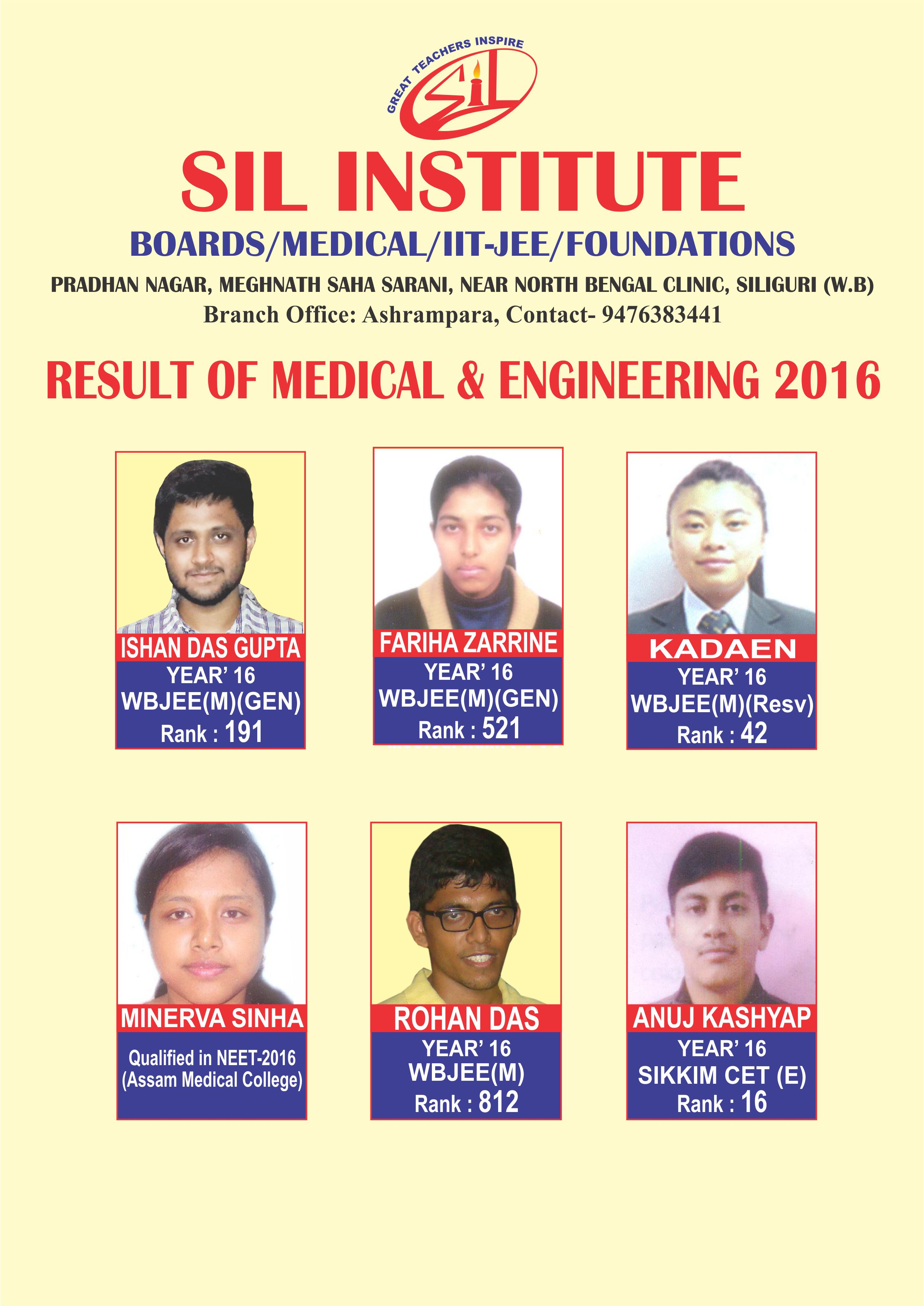 Result of Medical & Engineering 2016